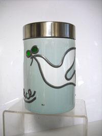 陶器キャニスター丸 ブルー  鳥.jpg