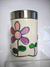 陶器キャニスター丸 白 ピンクライラック.jpg